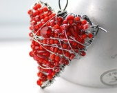 Red Heart Brooch, Wire Heart Pin, Beaded Brooch, Whimsical Jewelry, Heart Health Awareness - Heartbeat