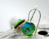 Lime Green Glass Earrings, Shimmering Green Glass Cabochons on Silver Plate - The Dot