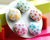 Magnets, Mod Dots, Orange, Turquoise, Lime, Yellow and Hot Pink Vintage Lucite Magnets, Set of 5