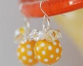 Spring Dance Daffodil Vintage Lucite and Swarovski Crystal Earrings