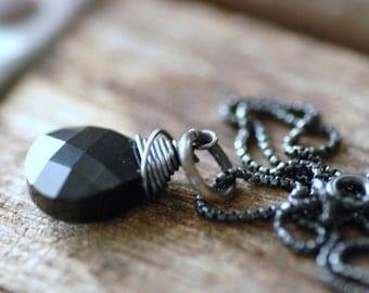 Black Crystal Necklace, Pendant Necklace, Swarovski Elements, Jet Black, Solitaire, Blackened Silver Necklace, Crystal Jewelry - City Lights