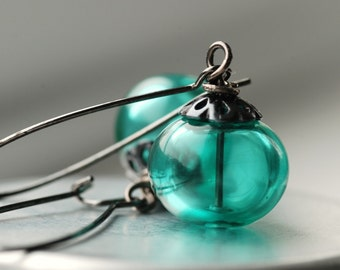 Teal Earrings, Teal Jewelry, Winter Wedding, Blue Spruce, Pine Green, Dangle Earrings, Hollow Glass Earrings - Evergreen