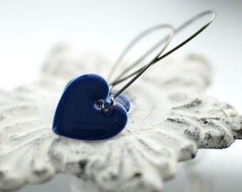 Dangle Earrings, Midnight Blue Earrings, Heart Earrings, Romantic Jewelry, Enameled Earrings, Blue Wedding, Bridesmaid Earrings