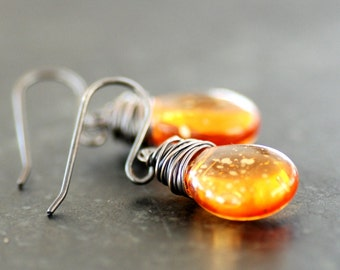 Rustic Earrings, Tangerine Earrings, Spring and Summer Jewelry, Dangle Earrings, Colorful Jewelry, Oxidized Sterling Silver