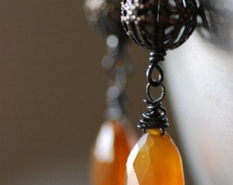 Gemstone Earrings, Caramel Brown, Chalcedony Earrings, Gemstone Jewelry, Autumn Jewelry, Blackened Sterling Silver