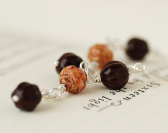 Brown and Pink Earrings, Long Dangle Earrings, Pink and Brown Earrings, Valentine Gift - Chocolate and Roses