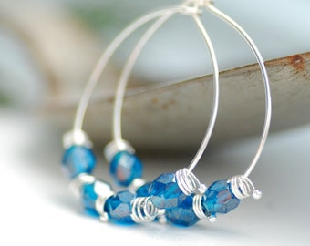Sterling Silver Hoop Earrings, London Blue Glass Earrings, Beachy Earrings, Beaded Hoops, Silver Hoops, Blue Earrings, Something Blue