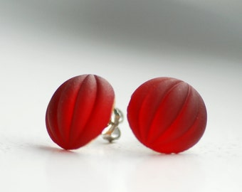 Red Post Earrings, Holiday Red Vintage Glass Stud Post Earrings, Textured Stud Earrings, Stainless Steel Posts - Cranberry