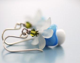 Blue and White Earrings, Flower Earrings, Canterbury Bells, Spring Jewelry, Nursery Rhyme, Vintage Glass Earrings, Sterling Silver