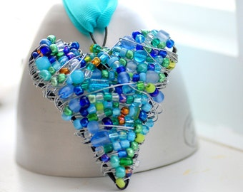 Beaded Wire Heart, Blue and Green Wire Wrapped Ornament, Decoration or Suncatcher - Missing You