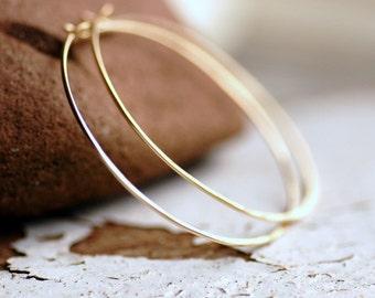 Gold Hoop Earrings, Gold Hoops, Hammered Hoops, Simple Hoops, Gold Earrings, Gold Jewelry, Everyday Hoops, 14k Goldfill - Little Black Dress