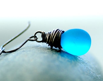 Aqua Blue Earrings, Frosted Blue Glass Earrings, Beachy Jewelry, Blue Wedding, Something Blue, Beach Wedding Jewelry, Tropical Wedding