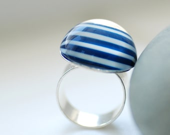 Big Top Ring, Hammered Silver Ring, Striped Jewelry, Big Chunky Ring,  Statement Ring, Blue and White, Funky Ring, Plated Adjustable Ring
