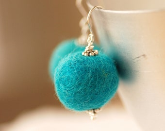 Felted Bead Earrings, Teal Earrings, Turquoise Earrings, Fibre Jewelry, Merino Wool and Sterling Silver - Fuzzy Sweater