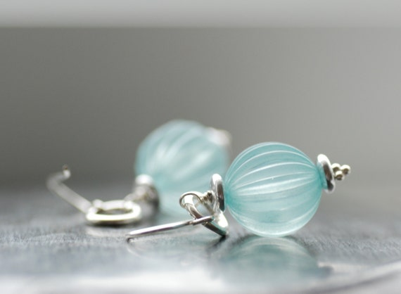 Earrings Aquamarine Blue Lucite, Glass and Sterling Silver  - Sea Spray