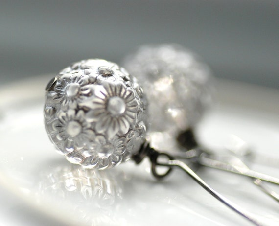CUSTOM ORDER for DARCY, Silver Platinum Earrings, Grey Floral Etched Vintage Lucite and Sterling Silver Earwires - Chantilly Lace