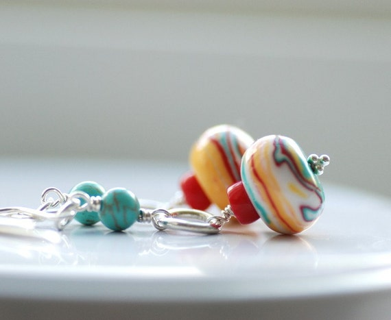 Vespa, Handmade Earrings Turquoise, Coral and Sterling Silver - LAST PAIR