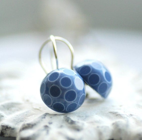 Denim Blue Earrings, Polka Dotted Jewelry, Whimsical Earrings, Geometric Jewelry, Blue and White, Lucite Earrings, Silver Plated - The Dot