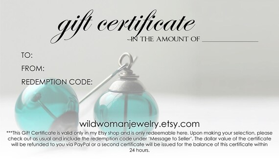 Gift Card, Gift Certificate, Earrings Gift Card, Jewelry Gift Certificate, Wild Woman Jewelry 50.00 USD, Mothers Day, Gift for Mom