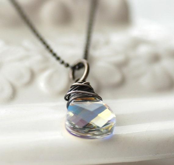 Swarovski Crystal Necklace, Northern Lights Crystal Pendant Necklace, on Oxidized Sterling Silver Chain - City Lights