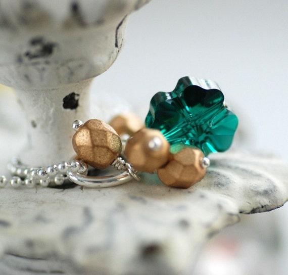 Necklace, Emerald Green Swarovski Four Leaf Clover Crystal and Sterling Silver - Pot of Gold