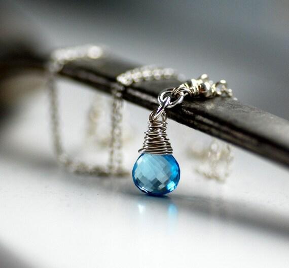 Swiss Blue Topaz Necklace, Wire Wrapped Gemstone Sterling Silver December Birthstone - Alps