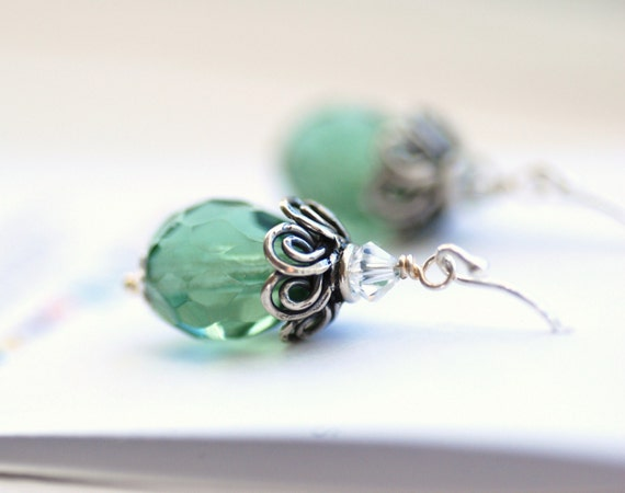 Earrings Vintage Style Seafoam Glass and Sterling Silver
