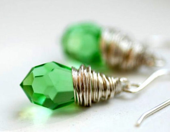 Celedon Green Earrings, Faceted Glass Jewelry, Spring Jewelry,Sparkly Earrings, Wire Wrapped Earrings, Sterling Silver - Willow