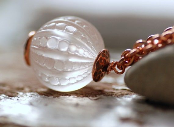 Lucite Pendant Necklace,  Elegant Translucent Textured Vintage Lucite and Copper - Orb