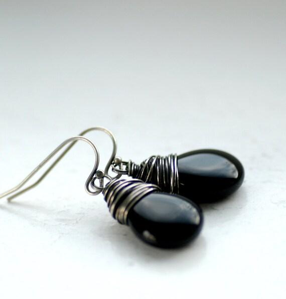 Black Earrings, Ebony Earrings, Elegant Jewelry, Classic Everyday Earrings, Glass Teardrops Wire Wrapped with Oxidized Sterling Silver