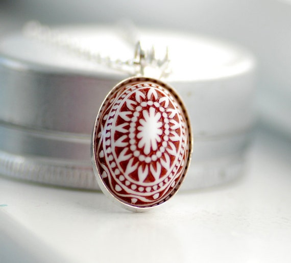 Scandinavian Necklace, Pendant Necklace, Chocolate Brown and White, Nordic Design, Lucite Jewelry, Sterling Silver