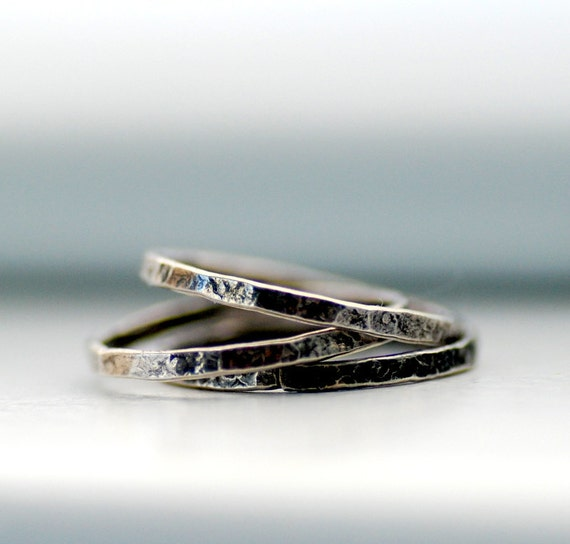 Sterling Silver Rings, Skinny Rings, Hammered Stacking Rings, Rustic Rings, Set of 3, Size 6, Ready to Ship