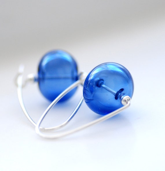 Sapphire Blue Earrings, Simple Earrings, Outdoor Wedding, Something Blue, Gift for Brides, Monaco Blue -  True Blue