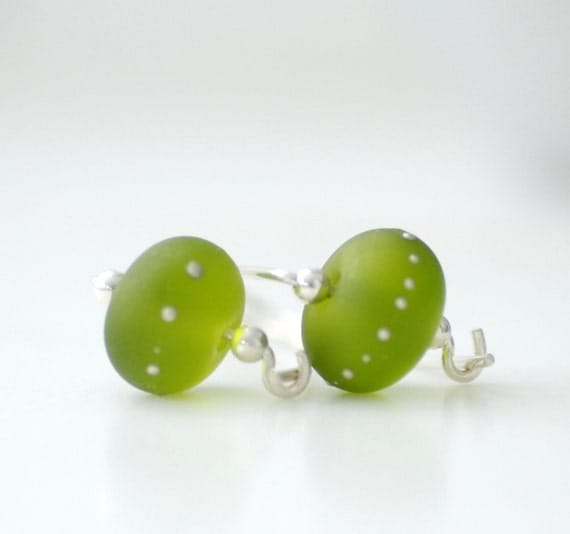 Spring Green Glass Earrings, Frosted Glass Earrings, Green Wedding, Leaf Green, Etched Glass and Sterling Silver - Beginning