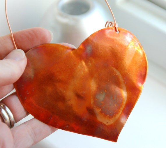 Copper Ornament, Heart Ornament, Hammered Copper Heart, Cottage Decor, Metalwork Ornament, Home and Garden, Hanging Ornament