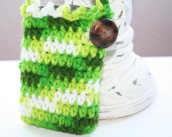 Bombshell Belle - Cell Phone Tote - Variations of Green with brown button