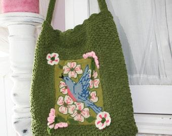Bombshell Belle - Mother Nature - Crocheted Handbag featuring vintage blue bird needlepoint