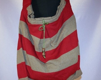 Bombshell Belle -Scarlet - Upcycled Sweater Shoulder Bag -  Striped Red and Khaki Brown