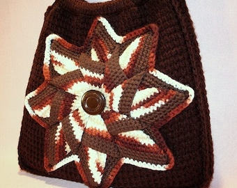 Bombshell Belle - Charity- Brown Hand Crocheted Bag with Vintage crocheted applique and button