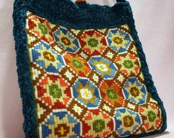 Bombshell Belle - Crystal Bag - Hand Crocheted Shoulder Bag w/ Vintage Mosaic Needlepoint