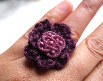 Plum Pudding - purple crocheted ring with purple vintage button