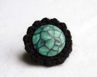 Bombshell Belle - Shattered Sea -  black crocheted ring with vintage button