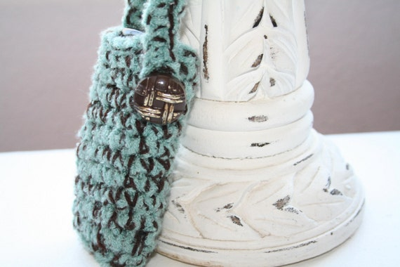 Cell Phone Tote  - Mint\/Chocolate with brown\/gold vintage button