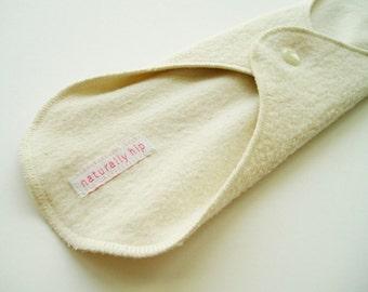 "12.5"" 32cm Organic Hemp Fleece Heavy Cloth Menstrual Pad, Natural Ivory, Incontinence Pad, Overnight Pad Night Pad, Ultra Extra Cloth Sanpro"