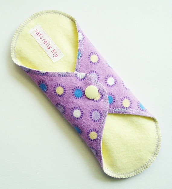 "7"" Flannel Panty Liner w/ Wings - Purple Pom Poms - Cloth Menstrual Pad"