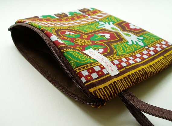"7"" x 6"" Double Pocket Wet Bag - Dashiki Brown"