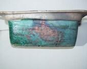 copper/green rectangular bowl
