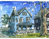 Houses, Aceo, Original, Art Card, Watercolor Painting, Atc, This is an Original painting and Not a Print
