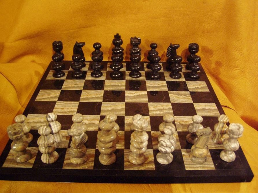 Black granite grey banded agate chess set free - Granite chess pieces ...