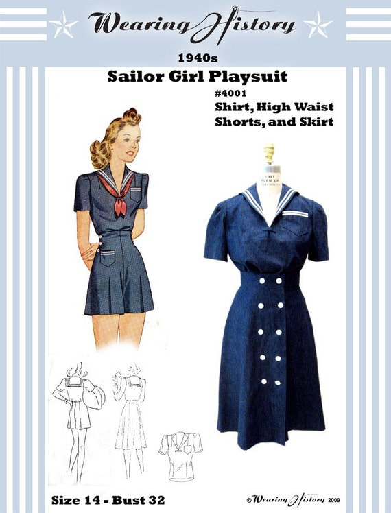 Reproduction 1940s Sailor Girl Pin Up Playsuit Pattern- Bust 32